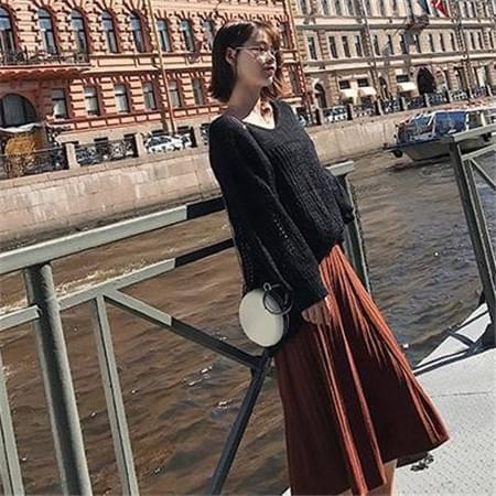 纯色温柔针织百褶裙