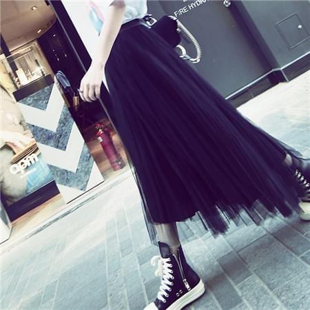 飘逸黑纱松紧腰黑色百褶半身裙
